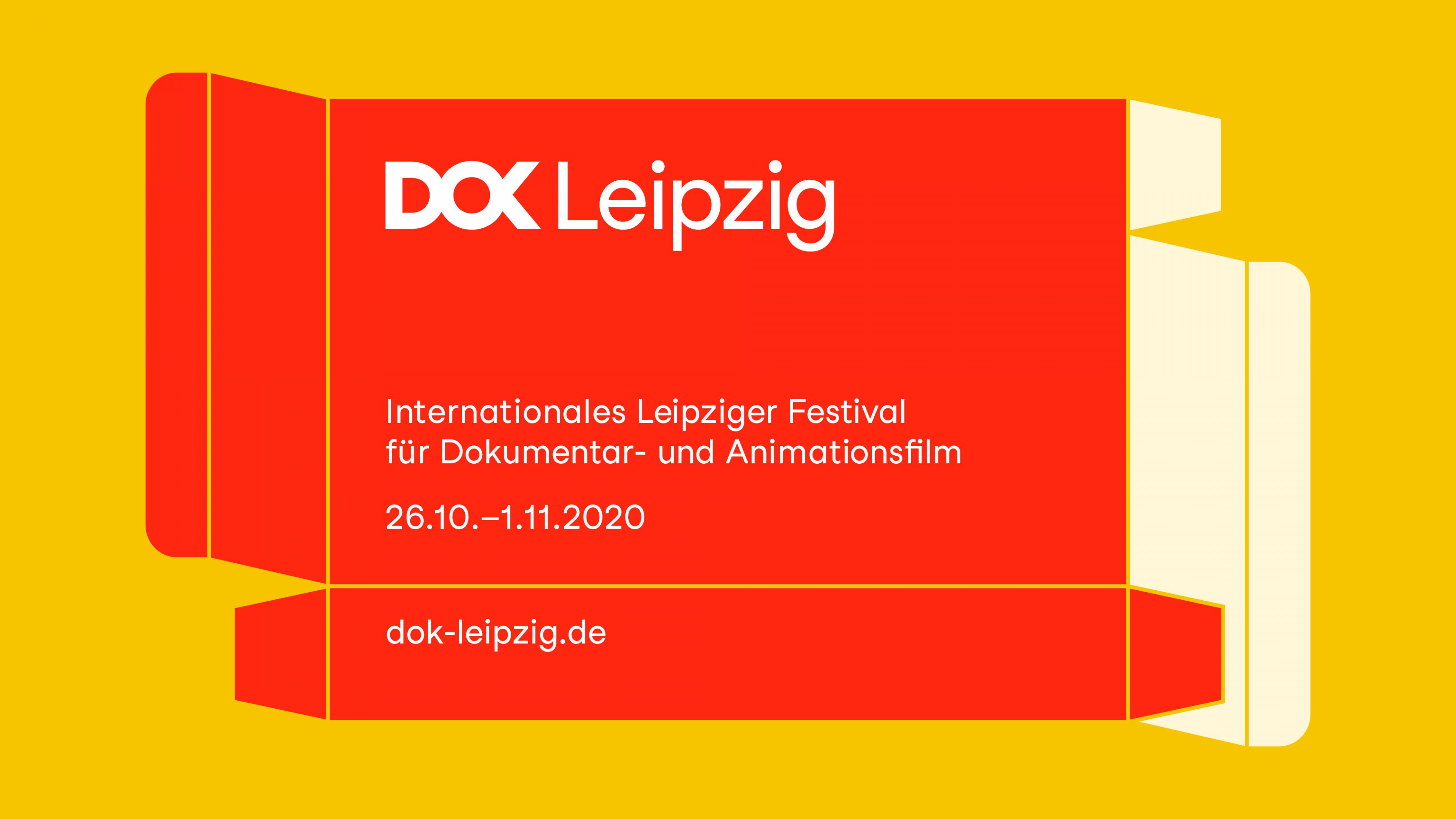 Festivalmotiv 2020: Grafik einer roten Faltschachtel mit DOK Leipzig Schriftzug und Festivaldatum