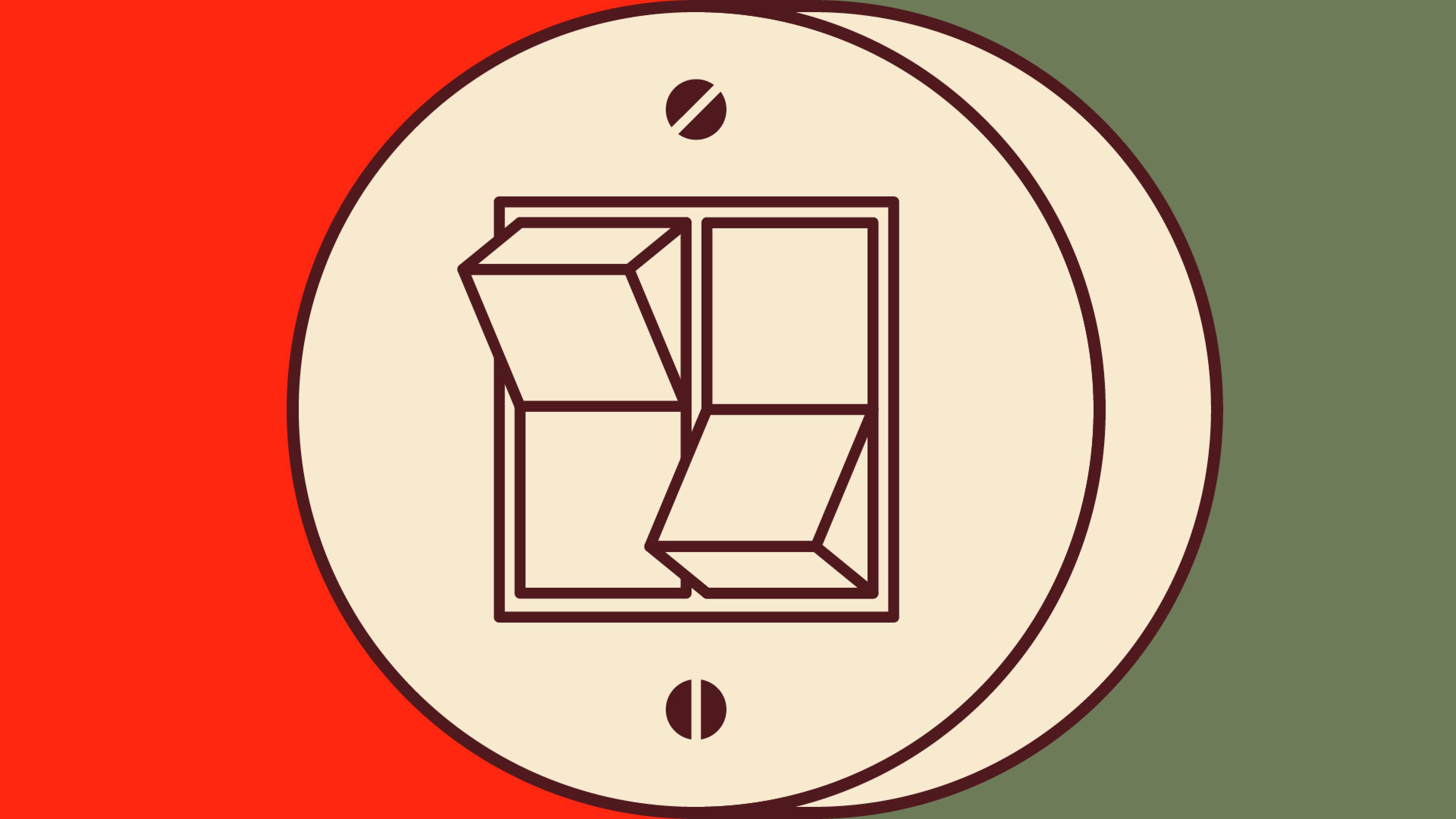 DOK Leipzig Plakat-Sujet 2021: Ein runder Doppelschalter im Retro-Design. Der Schalter links ist nach oben gekippt, der rechte nach unten.