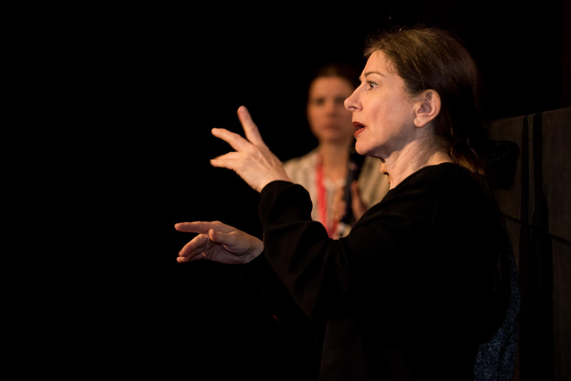 Zwei Frauen stehen in einem dunklen Kinosaal. Die Frau im Vordergrund übersetzt das Filmgespräch mit Blick zum Publikum in Gebärdensprache.