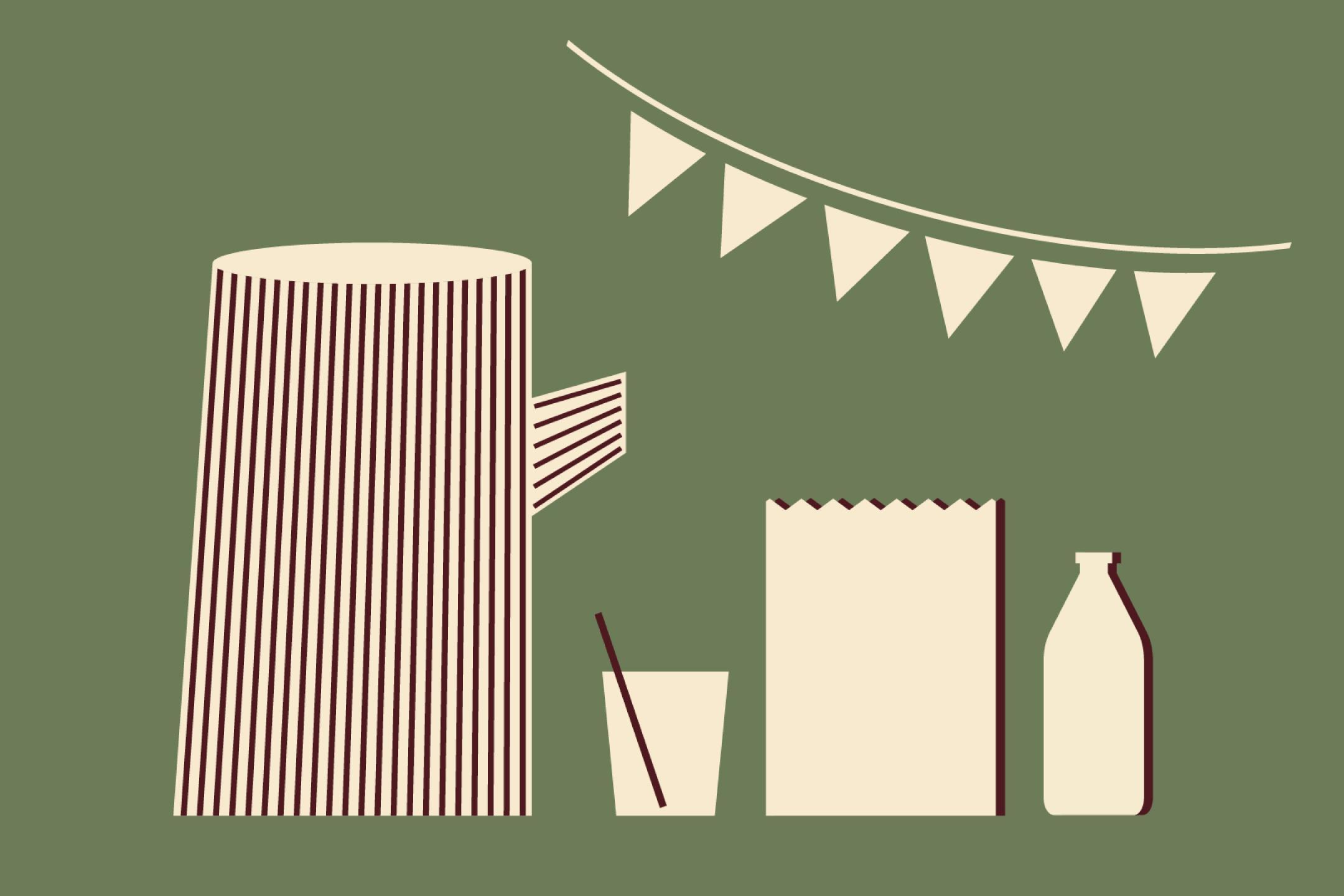 Eine grafische Illustration: Auf grünem Hintergrund sind eine Wimpelkette, eine Karaffe mit einem Glas, ein Popcorn-Becher und eine Flasche zu sehen.