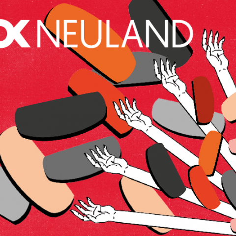 Graphic to illustrate DOK neuland flyer: Red backround with long and stiff white arms and round or cube-shaped particles floating around.