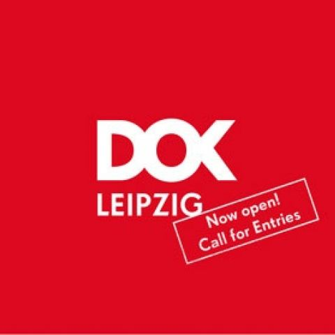 "Red graphic with the white Logo of DOK Leipzig and a stamp saying ""Call for Entries""."
