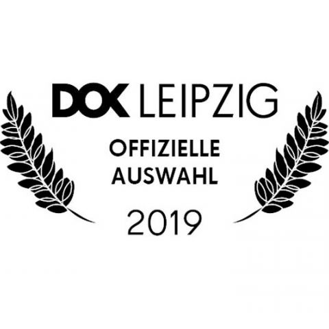 Laurel leaves in black on a white backround. DOK Leipzig Official Selection 2019 written between the laurel leaves.