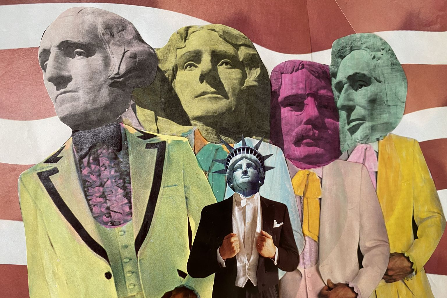 Filmstill: Collage of the Faces of the Statue of Liberty and important persons of the US American history