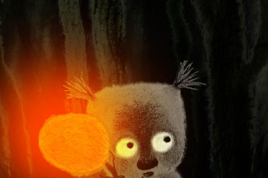 Film still of Fruit of Clouds, a worried looking being with grey fur and an orange lamp