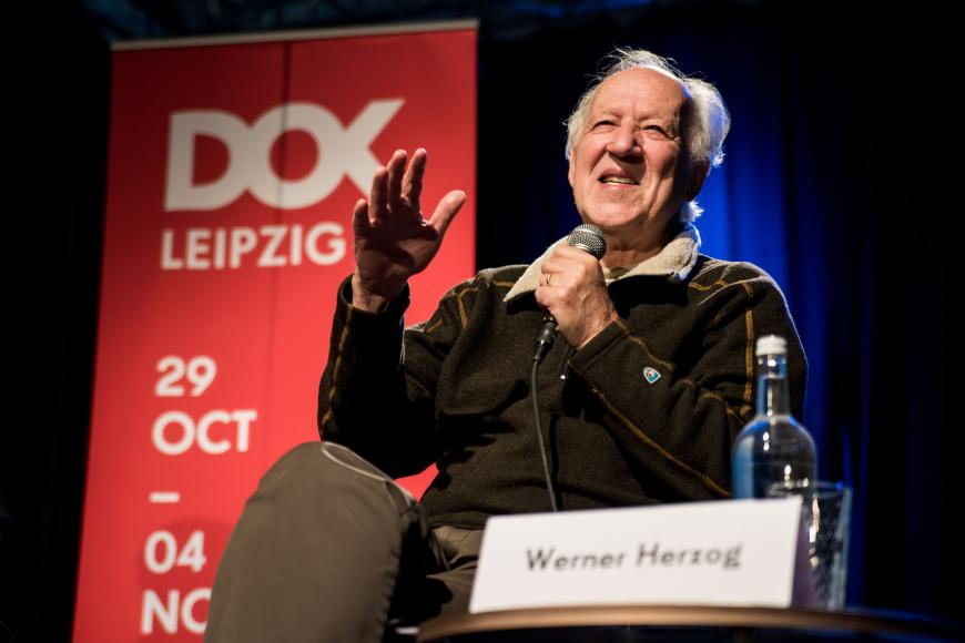 "Werner Herzog talks about himself and his work at the talk event ""Ecstatic Truths""."