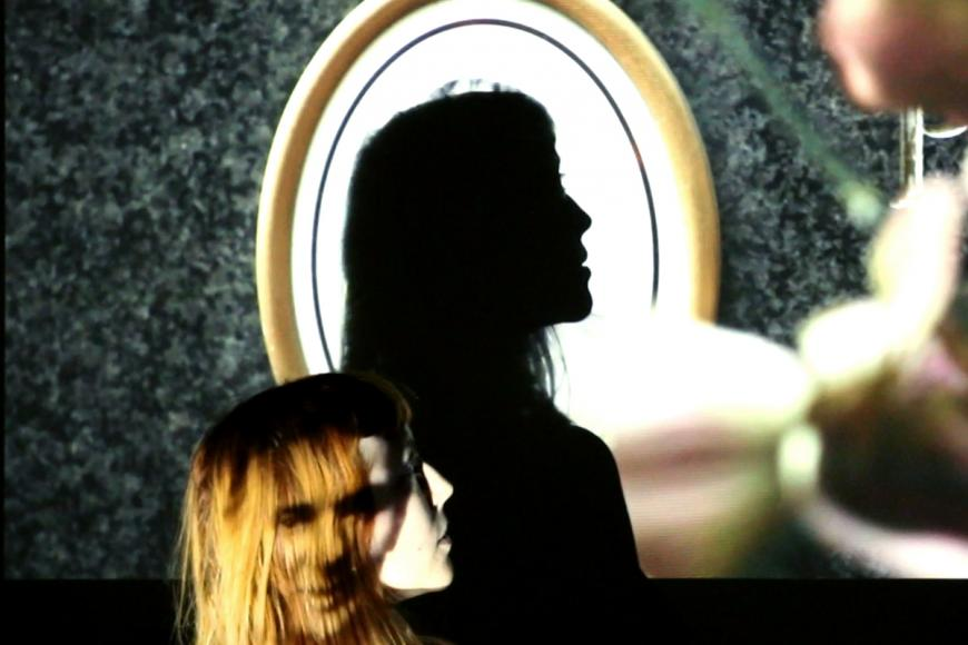 A woman's silhouette and her shadow in a mirror