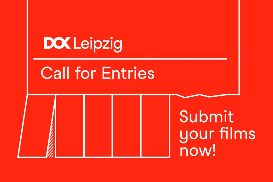 Illustration of a tear-off stub, Illustration eines Abrisszettel (white on red background) with the DOK Leipzig Logo and text: Call for Entries. Submit your films now!